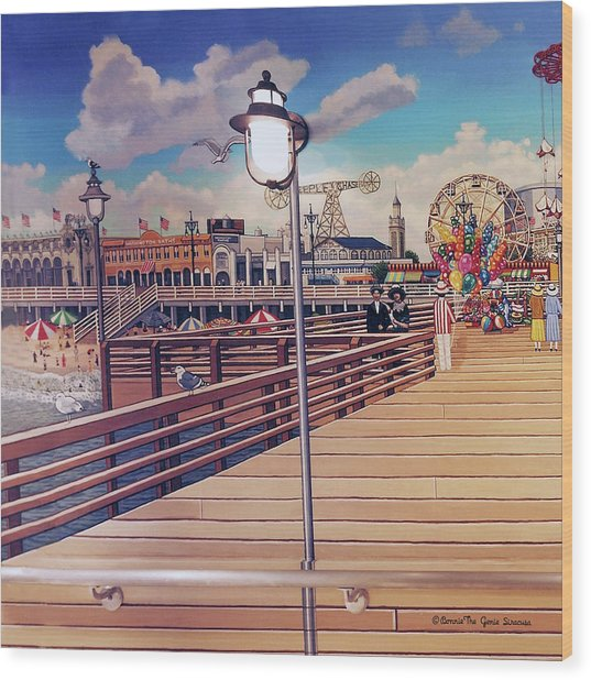 Coney Island Boardwalk Pillow Mural #1 Wood Print