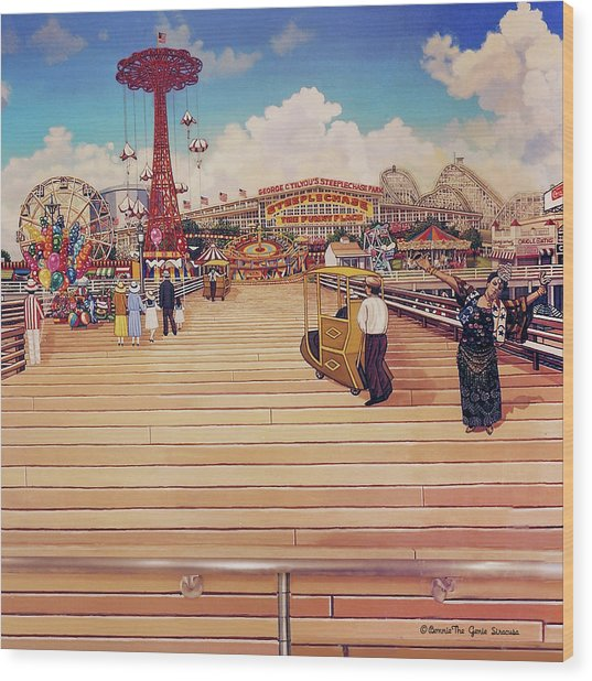 Coney Island Boardwalk Pillow Mural #2 Wood Print
