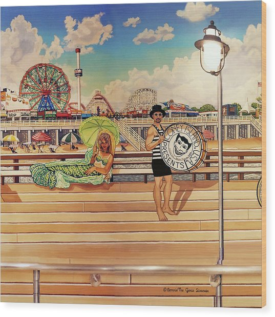 Coney Island Boardwalk Pillow Mural #4 Wood Print