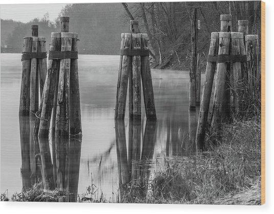 Connecticut River At Dawn Wood Print