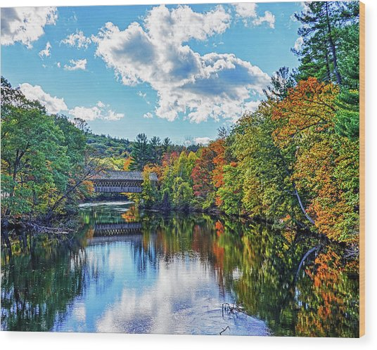 Contoocook River In Henniker Nh Covered Bridge In The Fall Wood Print