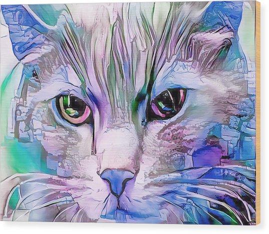 Cool Blue Cat Wood Print
