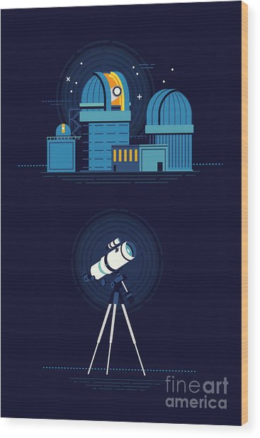 Cool Vector Modern Observatory At Night Wood Print