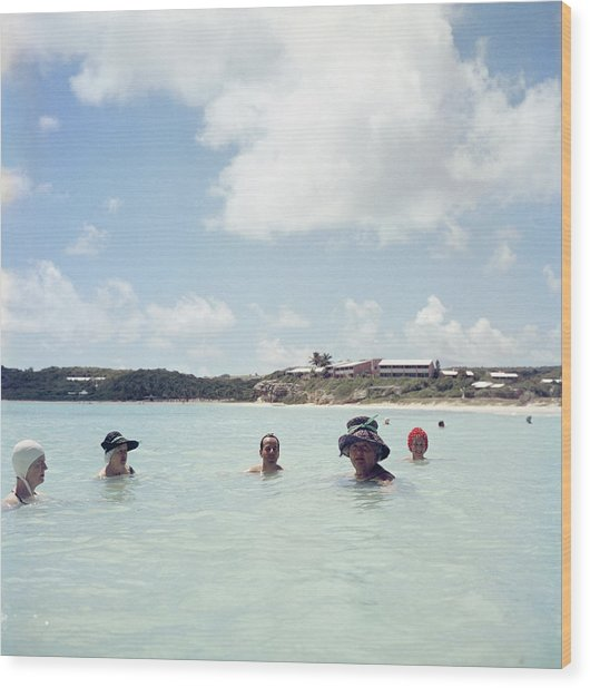 Cooling Off In Antigua Wood Print by Slim Aarons
