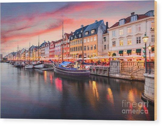 Copenhagen, Denmark On The Nyhavn Canal Wood Print