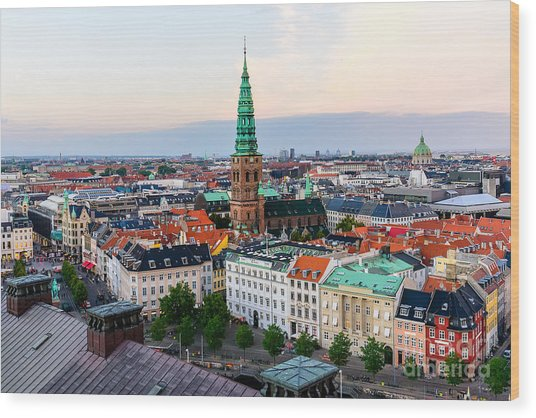 Copenhagen Skyline By Evening. Denmark Wood Print