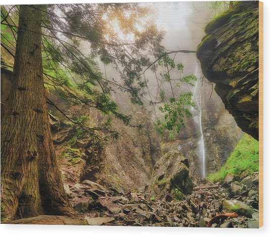 Wood Print featuring the photograph Copper Falls Mist And Light by Leland D Howard