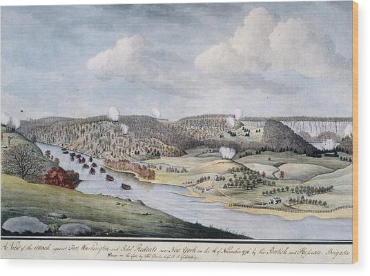 Cornwallis Attack On Fort Lee Wood Print by Fotosearch