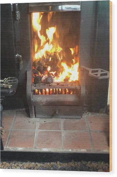 Cosy Winter Fire Wood Print