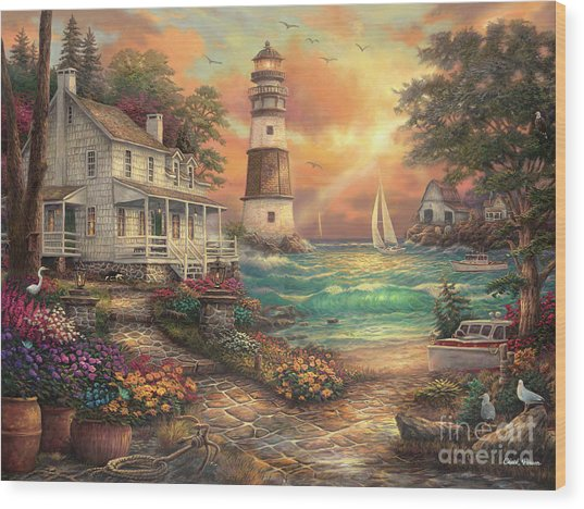 Cottage By The Sea Wood Print