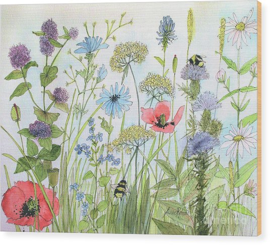 Cottage Flowers And Bees Wood Print