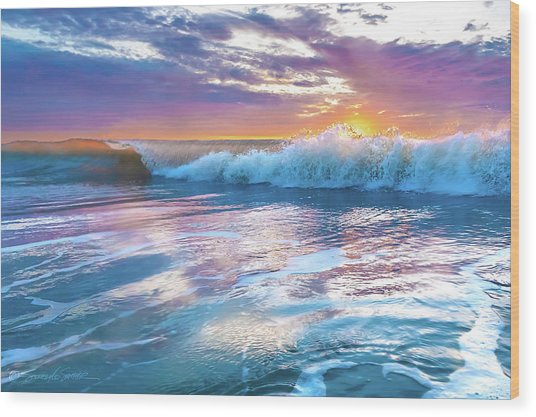 Cotton Candy Sunrise Surf Wood Print