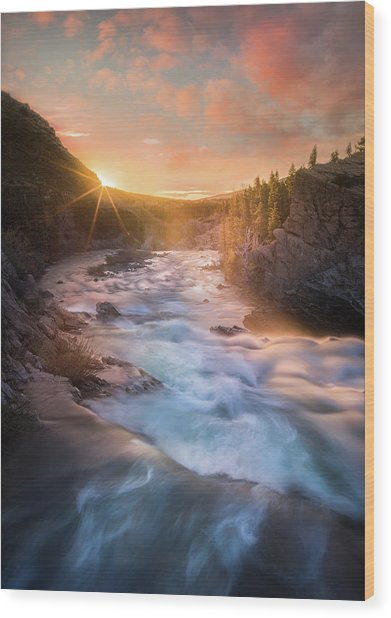Cotton Candy Sunrise / Swiftcurrent Falls, Glacier National Park  Wood Print