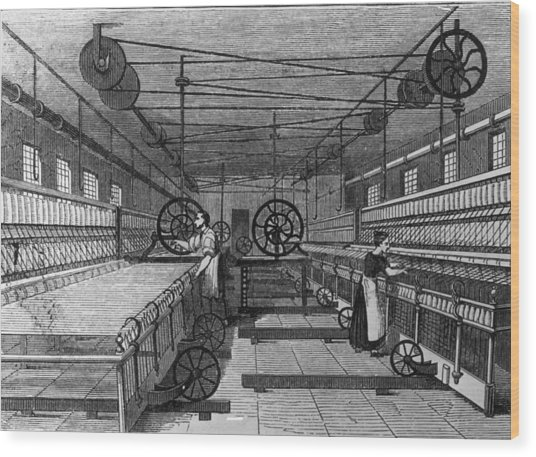 Cotton Mill Wood Print by Hulton Archive