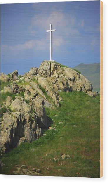 Countryside Cross Wood Print
