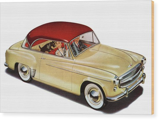 Couple In Car With Scotty Dog Wood Print by Graphicaartis