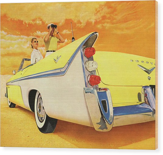 Couple In Yellow Convertible Wood Print by Graphicaartis