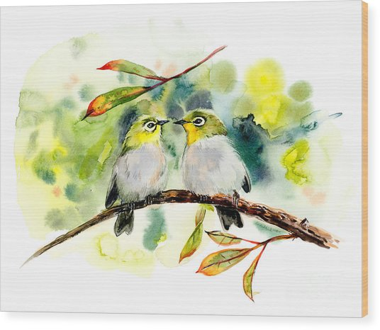 Couple Of Little Green Birdies Wood Print