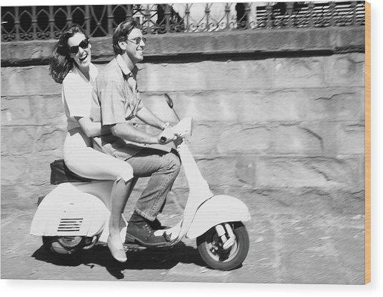 Couple On Motor Scooter B&w Wood Print