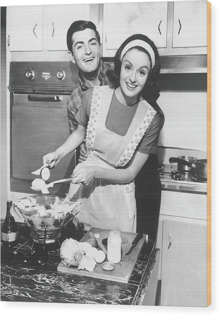 Couple Standing In Kitchen, Smiling, B&w Wood Print