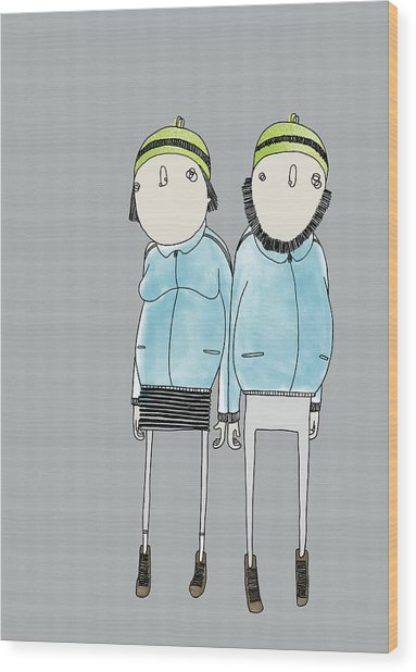 Couple Wood Print by Stine Kaasa Illustration