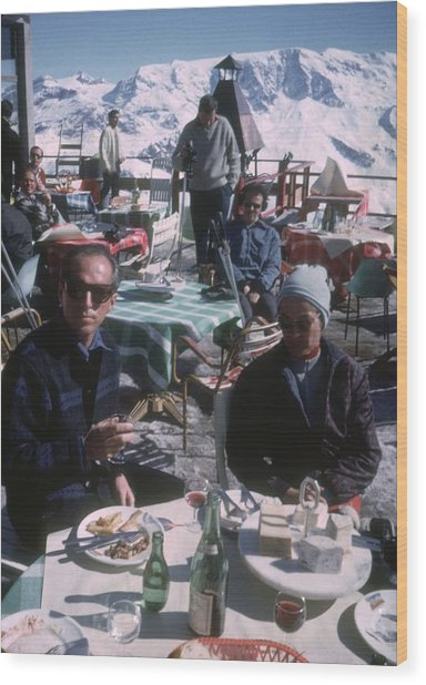Courchevel Cafe Wood Print by Slim Aarons