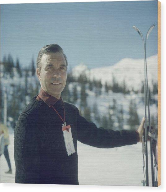 Courchevel Skier Wood Print