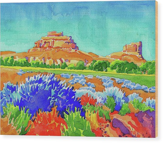 Wood Print featuring the painting Courthouse And Jail Watercolor by Dan Miller