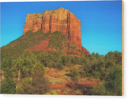Courthouse Butte Wood Print by Fernando Margolles