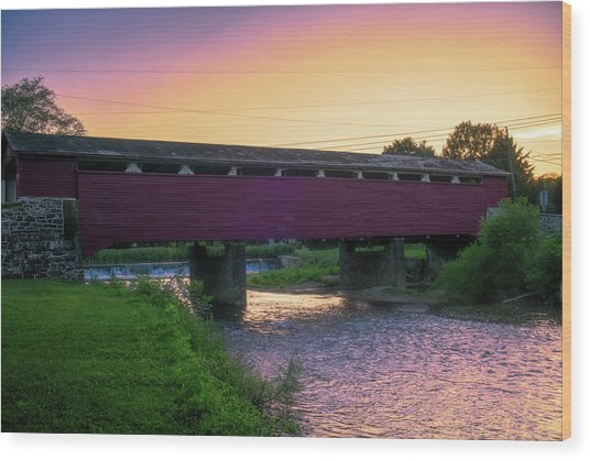 Covered Bridge Sunset Wood Print