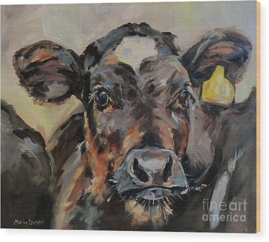 Cow In Oil Paint Wood Print