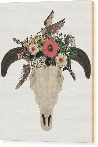 Cow Skull Flowers Wood Print