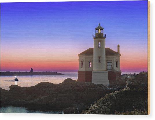 Crab Boat At The Bandon Lighthouse Wood Print
