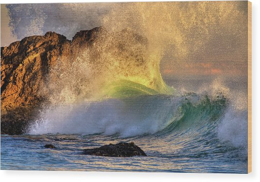 Crashing Wave Leo Carrillo Beach Wood Print