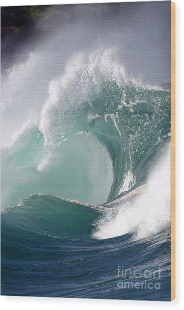 Crashing Wave Wood Print by Mana Photo