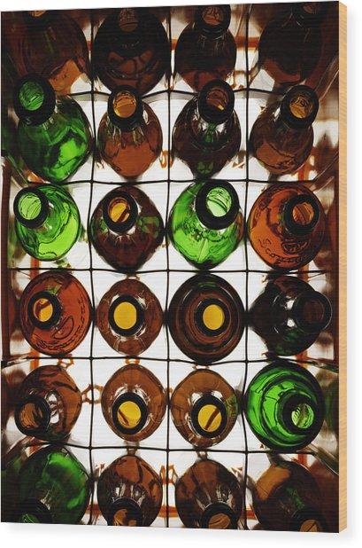 Crate Of Empty Beer Bottles Wood Print