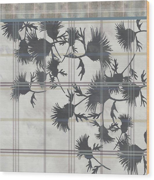 Cream Thistle Plaid Contrast Border Wood Print
