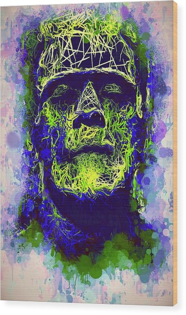 Frankenstein Watercolor Wood Print