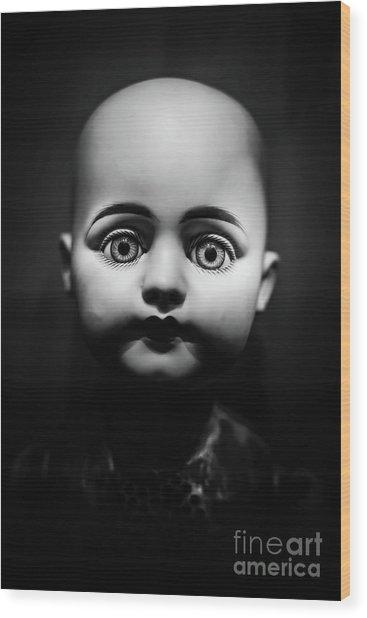 Creepy Toy Doll Wood Print