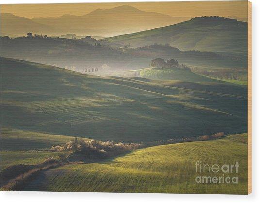 Crete Senesi Landscape In Tuscany Wood Print