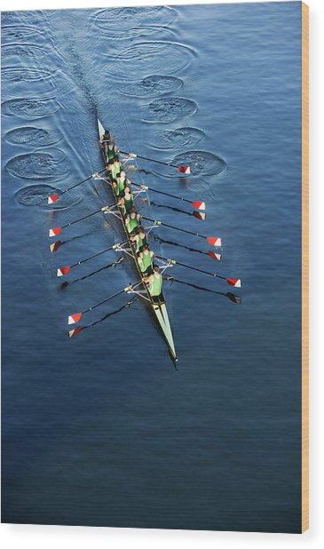 Crew Team Rowing Wood Print by Fuse