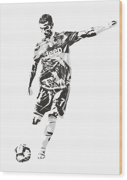 Cristiano Ronaldo Juventus Pixel Art 2 Wood Print