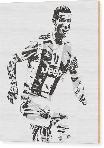 Cristiano Ronaldo Juventus Pixel Art 3 Wood Print