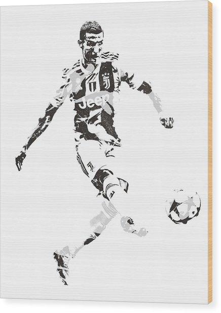 Cristiano Ronaldo Juventus Pixel Art 4 Wood Print