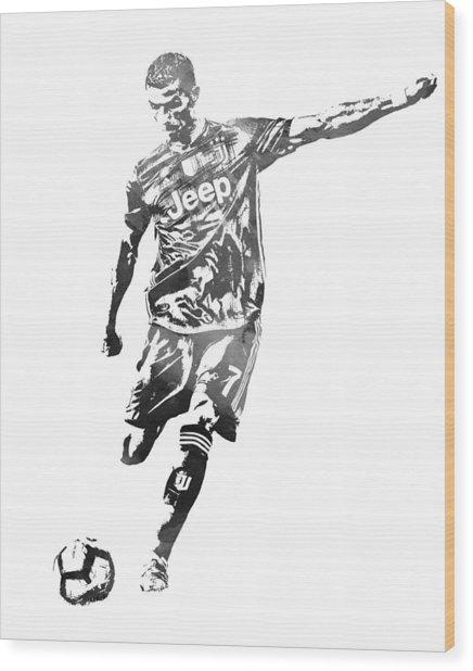Cristiano Ronaldo Juventus Water Color Pixel Art 2 Wood Print
