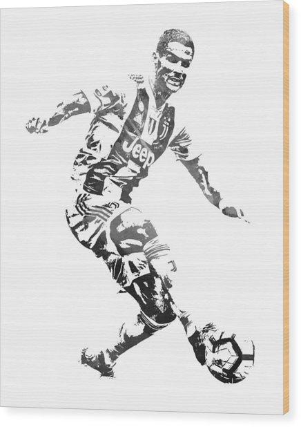 Cristiano Ronaldo Juventus Water Color Pixel Art 3 Wood Print
