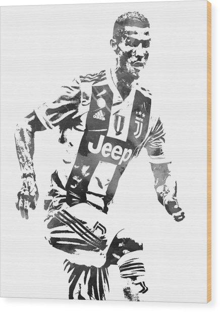 Cristiano Ronaldo Juventus Water Color Pixel Art 4 Wood Print