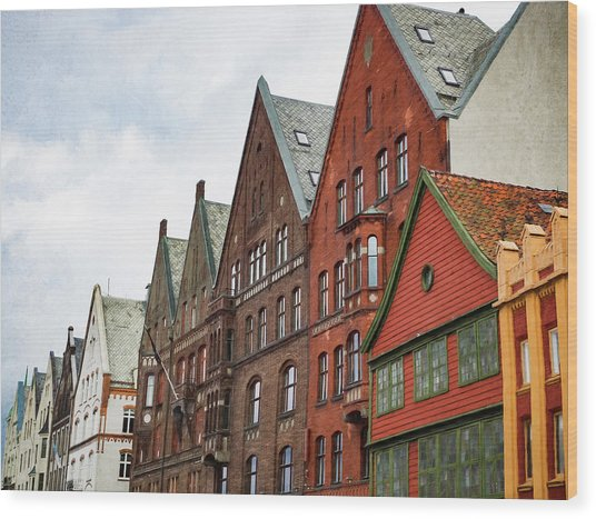 Wood Print featuring the photograph Crooked Buildings Of Bergen Norway In Europe by Whitney Leigh Carlson