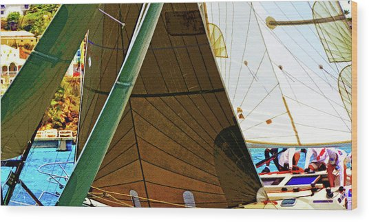 Crossing Sails Wood Print