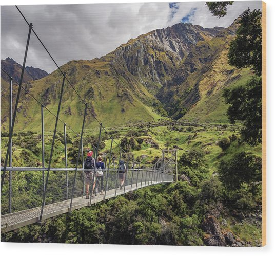 Crossing The River In New Zealand Wood Print